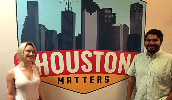 Hannah McClure and Chris Valdez, of the marketing and design firm Primer Grey, have created Houston-themed emojis -- called Houmoji. (Photo: Michael Hagerty, Houston Public Media)