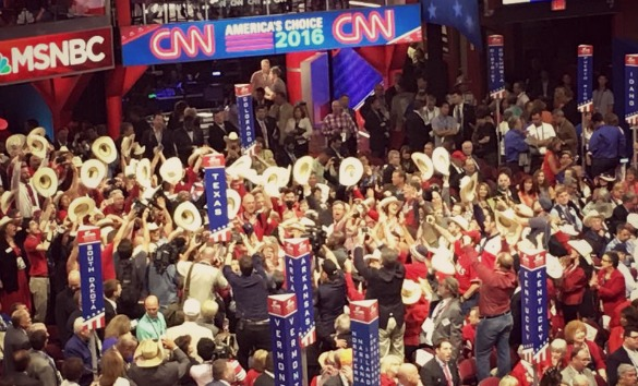 Texas delegates cast their votes on the floor of the 2016 Republican National Convention in Cleveland on Tuesday, July 19, 2016. (Photo: Andrew Schneider, Houston Public Media)