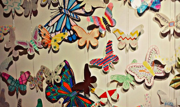 "Butterflies on display at a gallery at Memorial Hermann-Texas Medical Center in conjunction with ""The Butterfly Project"" from Holocaust Museum Houston. The program commemorates the 1.5 million children lost in the Holocaust. (Photo: Maggie Martin, Houston Public Media)"