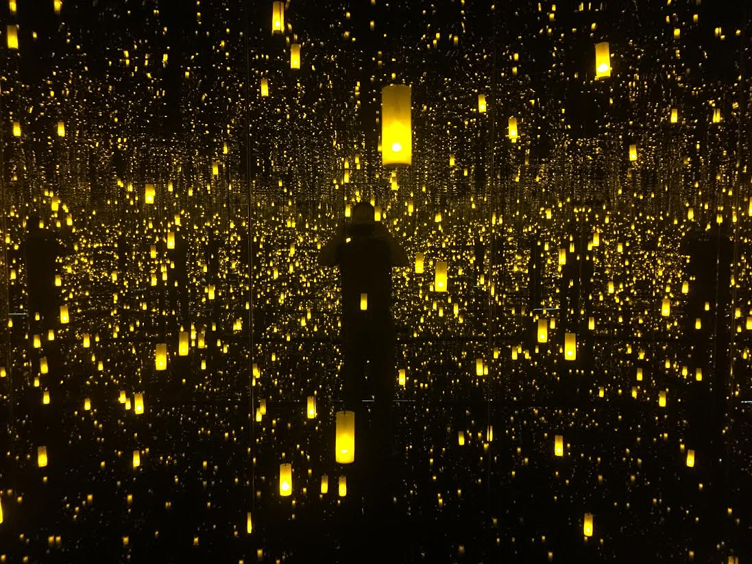 "The view inside Kusama's installation ""The Aftermath of the Obliteration of Infinity"""