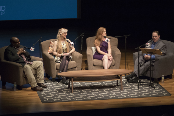 (L to R) Marcus Davis, Tamara Tabo and Lisa Falkenberg speak with Craig Cohen onstage at the Asia Society Texas Center during the taping of the 2016 Houston Matters Roadshow on June 28, 2016. (Photo: Derek Stokely, Houston Public Media)