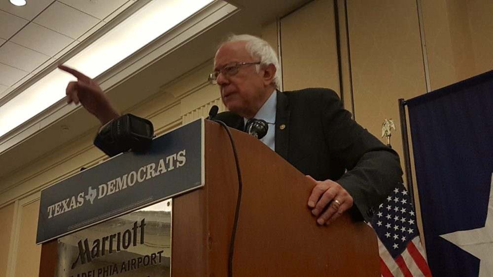 Bernie Sanders speaks to the Texas delegates at the Democratic National Convention.