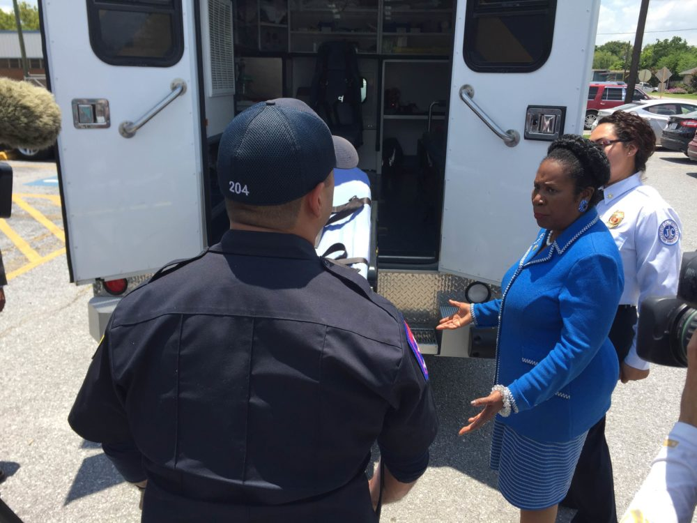 Congresswoman Sheila Jackson Lee discusses the features of the new ambulance.