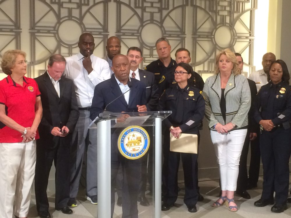 Houston Mayor Sylvester Turner, HPD Interim Chief Martha Montalvo and city council members react to Thursday's shooting of police officers in Dallas.