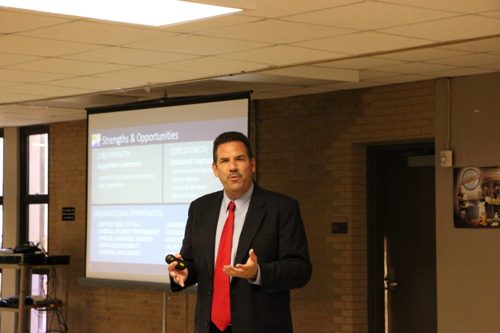 "Spring Branch ISD Superintendent Scott Muri spoke at a community meeting about becoming a ""district of innovation."""