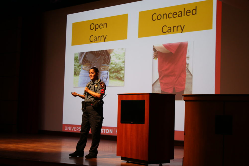 Sgt. Dina Padovan with the University of Houston Police Department explained to new students the difference between open carry and concealed carry. Concealed carry is now allowed at public Texas colleges under the new campus carry law. It takes effect Aug. 1.