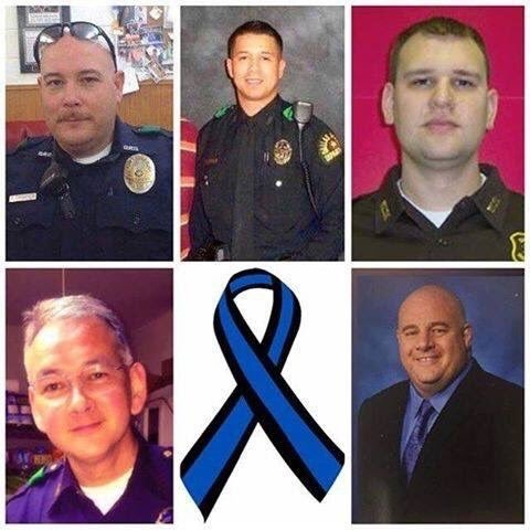 The Dallas police officers killed by a suspect. From the bottom left in clockwise order: Michael Smith, Brent Thompson,  Patrick Zamarripa, Michael Krol and Lorne Ahrens.
