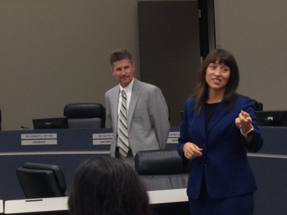 Elizabeth Fagen talks to new hires during an orientation held at the Humble ISD Administration Building on July 11th.