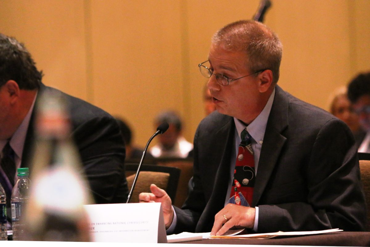 Scott Robichaux, manager of cyber security at ExxonMobil, testifies to presidential commission