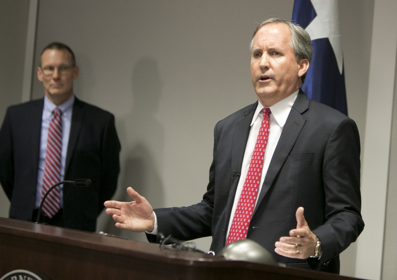 Texas Attorney General Ken Paxton during a press conference announcing a lawsuit filed against the federal government over rules for transgender bathrooms in public schools.