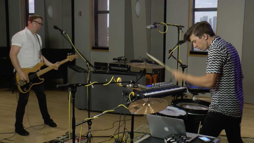 Catch Fever (Taylor Huffman, left, and Josh Wilson) perform in the Geary Studio