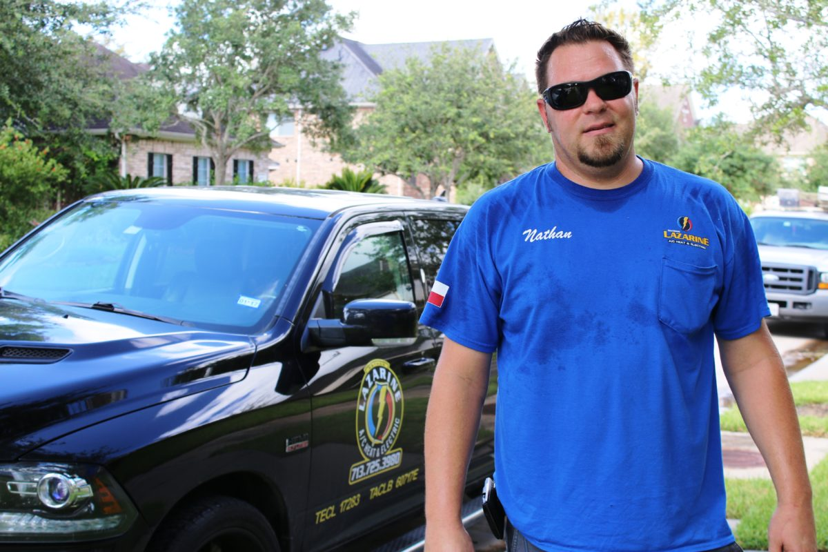 Electrician Nathan Lazarine says he stays busy fixing appliances and HVAC systems in Sienna Plantation