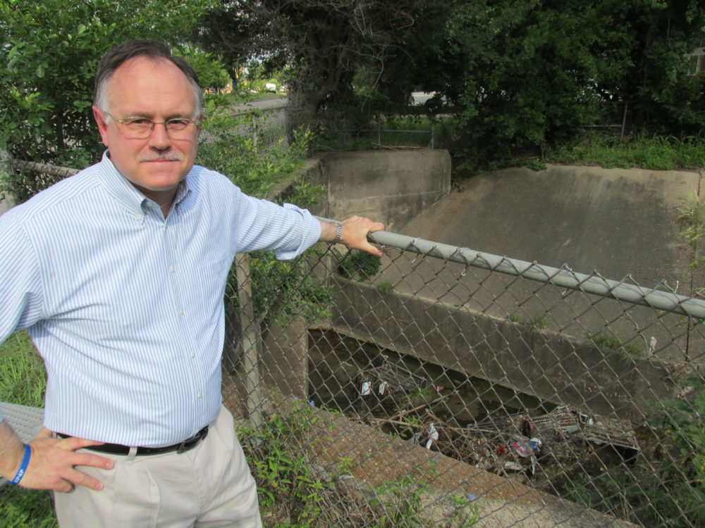 Houston City Council member Mike Laster stands above a ditch littered with shopping carts. His amendment to the city's 2017 budget addresses the problem.