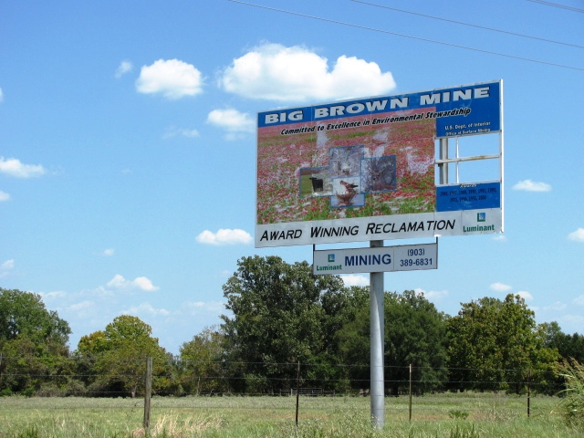 Luminant's billboards on reclaimed land at the Big Brown Mine