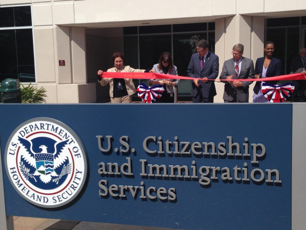Daniel Renaud, USCIS Associate Director of Field Operations, and other agency personnel did the traditional ribbon cutting at the new Houston field office, which is located at 810 Gears Road, in the north part of town.