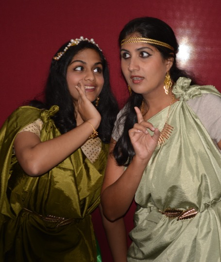 Silambam company members as A Midsummer Night's Dream characters Helena and Demetrius