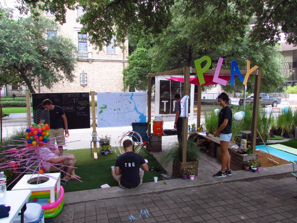 Parklets also offered a space for fun and games.