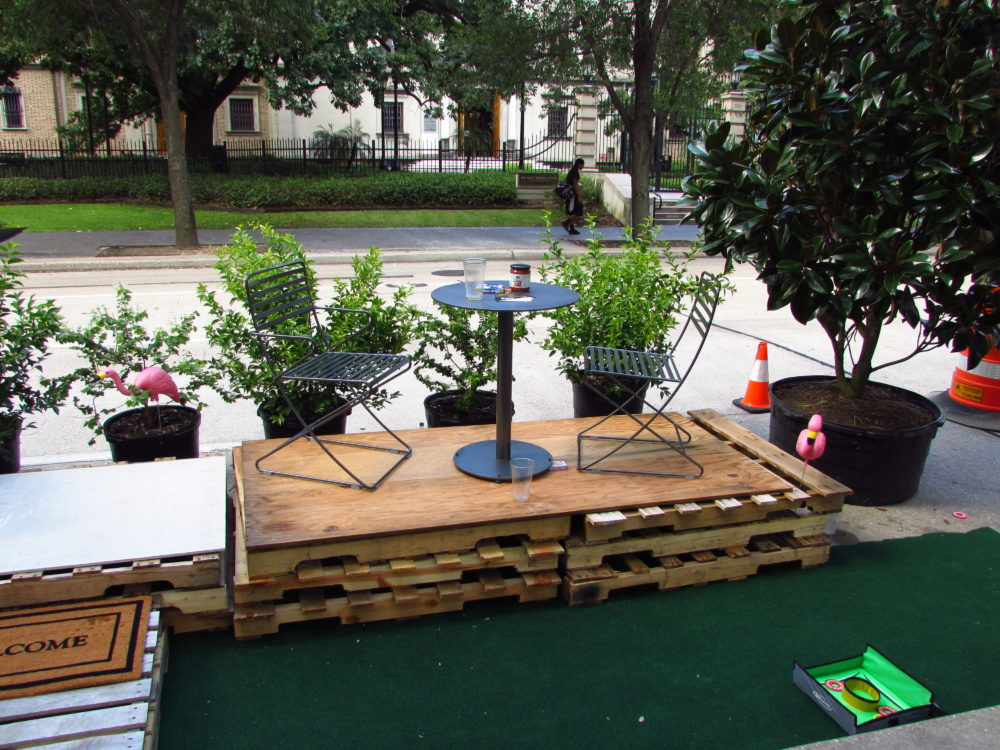 Local professional and student organizations built the parklets next to Houston City Hall.