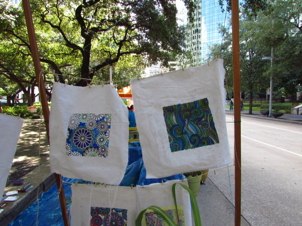 Visitors to Houston's PARK(ing) Day were invited to create their own art.