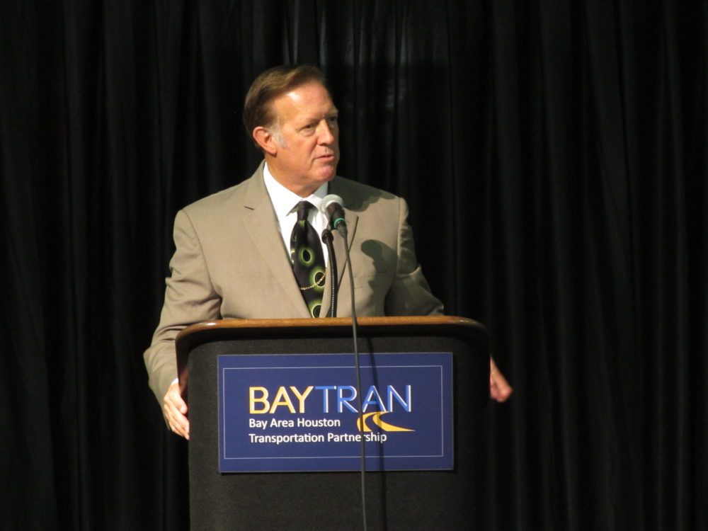 Congressman Randy Weber (R-Friendswood) speaks at the Galveston County Transportation Conference about the importance of long-term federal transportation funding. (Photo: Gail Delaughter, Houston Public Media)