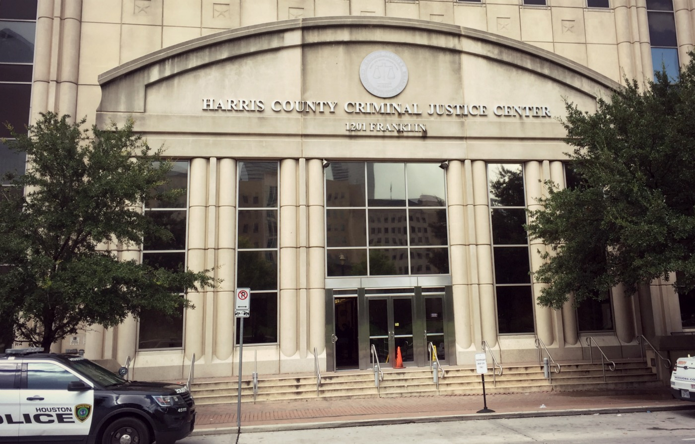 The Harris County Criminal Justice Center in downtown Houston. (Photo: Edel Howlin, Houston Public Media)