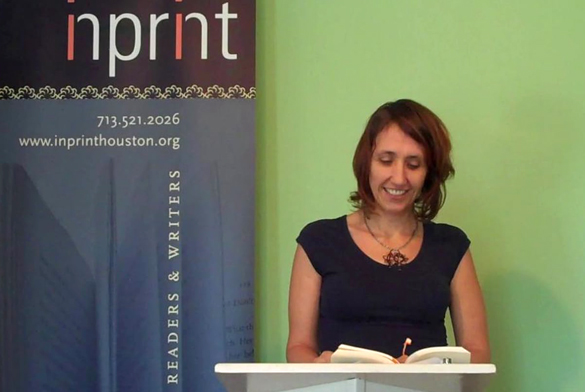 "Houston writer Miah Arnold, author of the novel ""Sweet Land of Bigamy,"" talks at an event for local literary organization Inprint. (Image Courtesy Inprint, via Vimeo)"