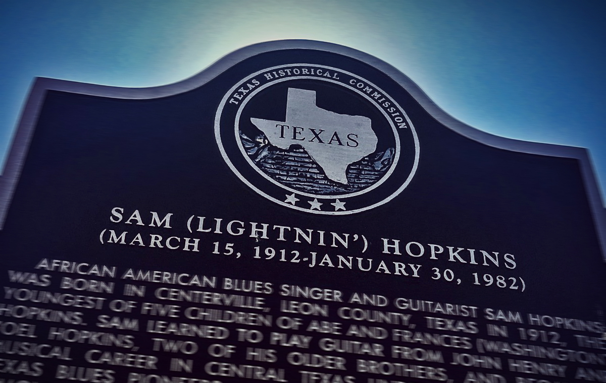 "A State of Texas historical marker honoring blues legend Sam ""Lightnin'"" Hopkins in Houston's Third Ward at the intersection of Dowling and Francis Streets. (Photo: Michael Hagerty, Houston Public Media)"