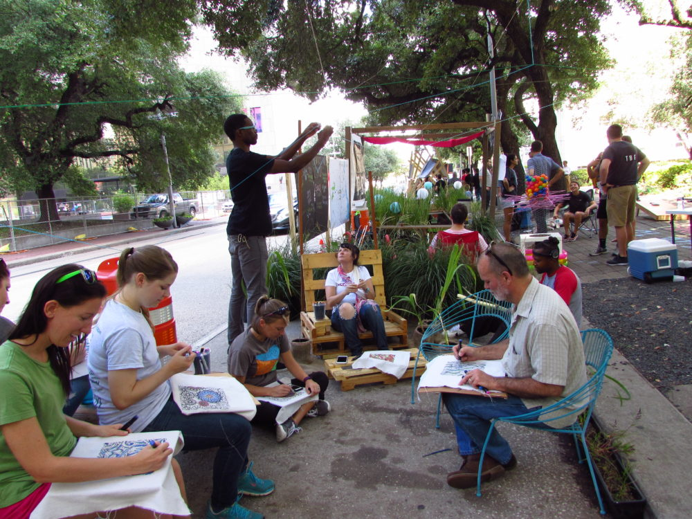 Visitors create fabric paintings at Houston's PARK(ing) Day