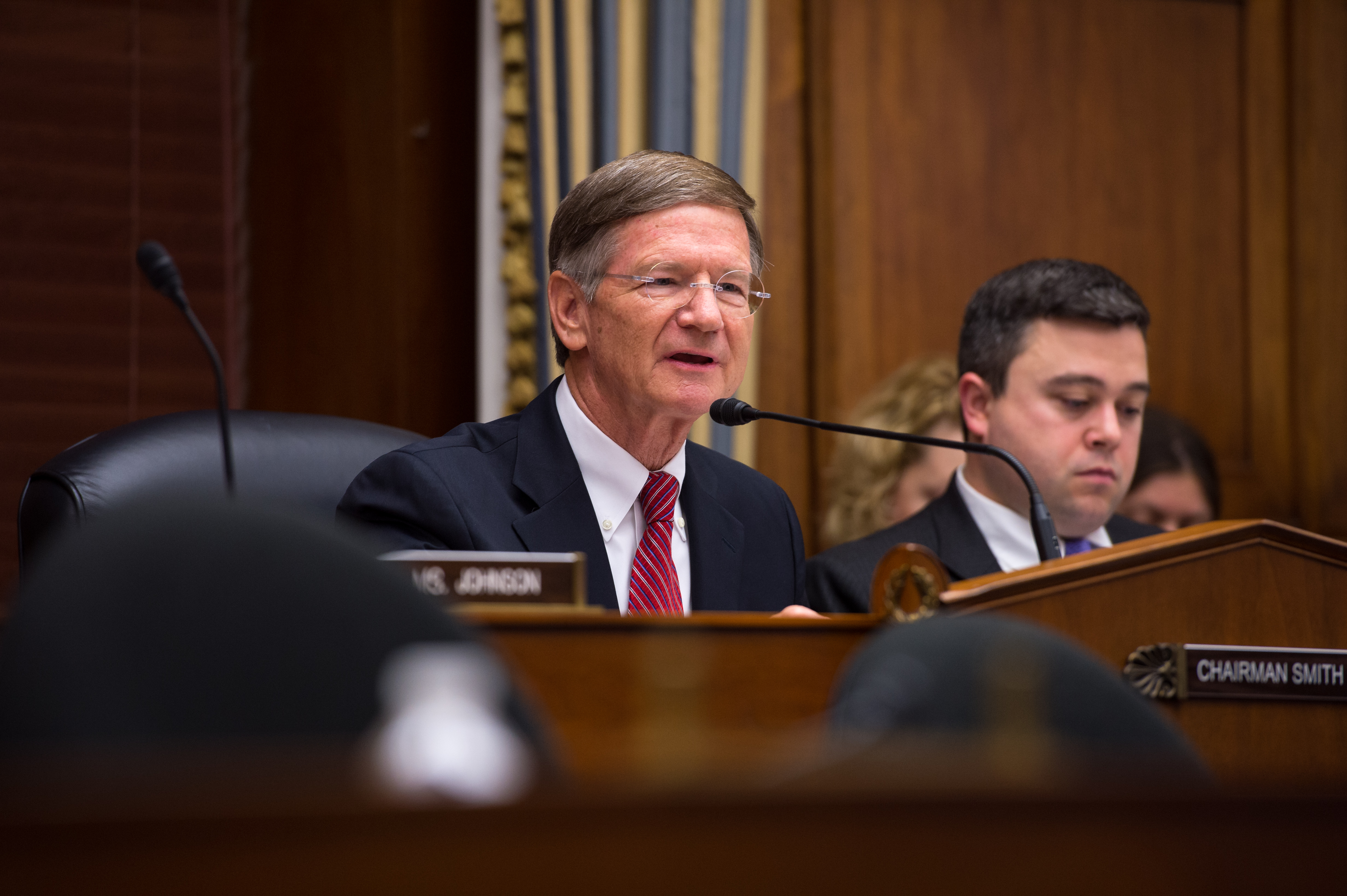 Chairman Lamar Smith (R-TX) held a full-committee event Thursday, July 24, 2014 at the Rayburn House Office Building in Washington, DC to allow members of the Committee on Science, Space, and Technology an opportunity to ask astronauts Steve Swanson and Reid Wiseman questions through a live downlink with the International Space Station (ISS).