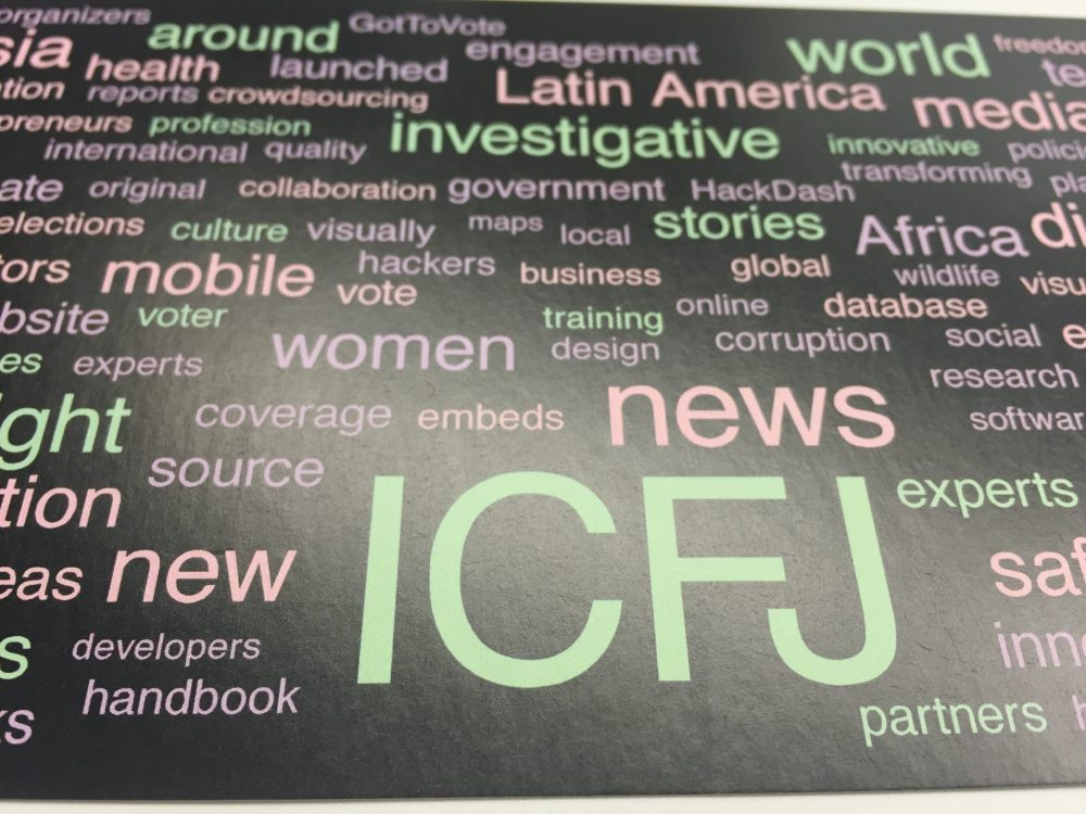 The words surrounding ICFJ (International Center For Journalists) are some of the programs offered by the group.