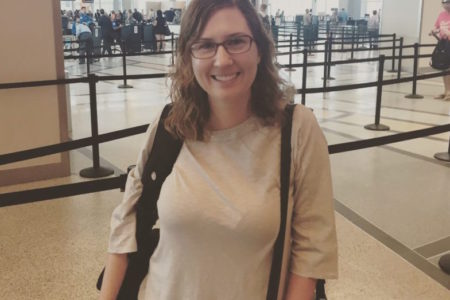 News 88.7 Education Reporter Laura Isensee at Hobby Airport as she prepared to depart on her journey to Pakistan.
