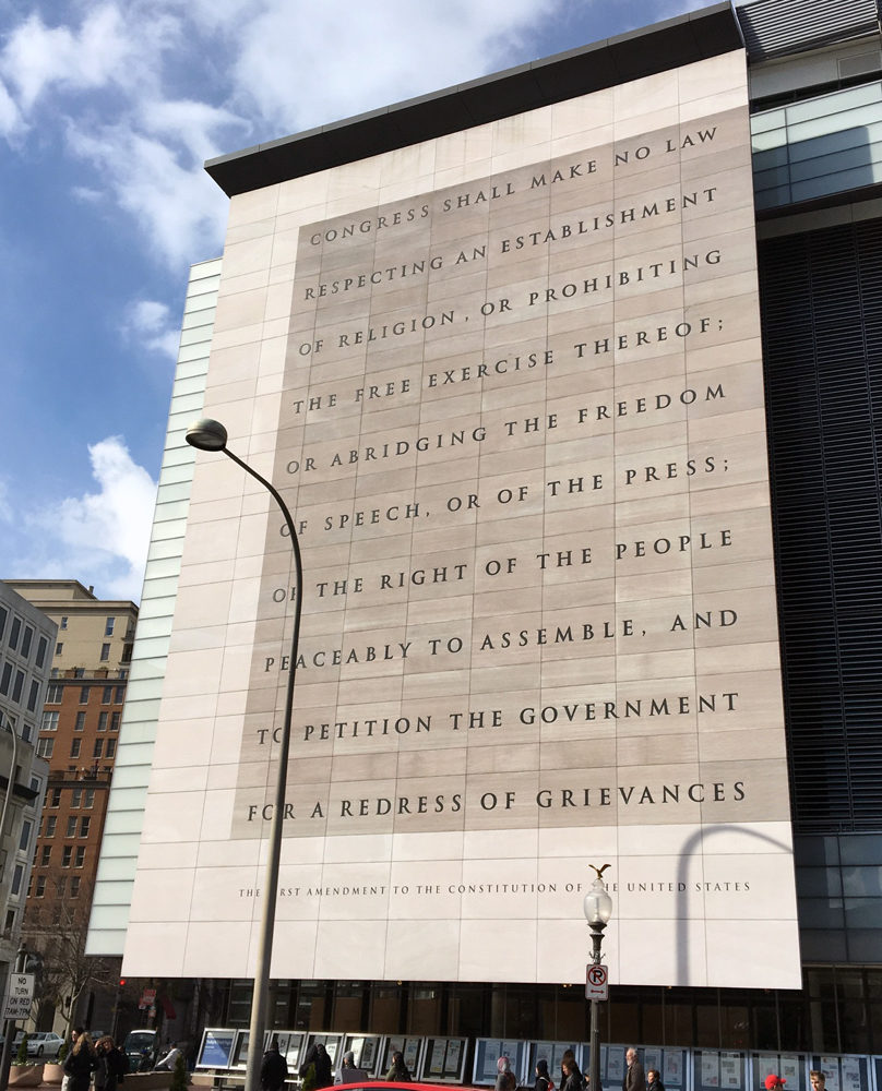 Engraving of the First Amendment to the Constitution of the United States on the Newseum museum in Washington D.C.