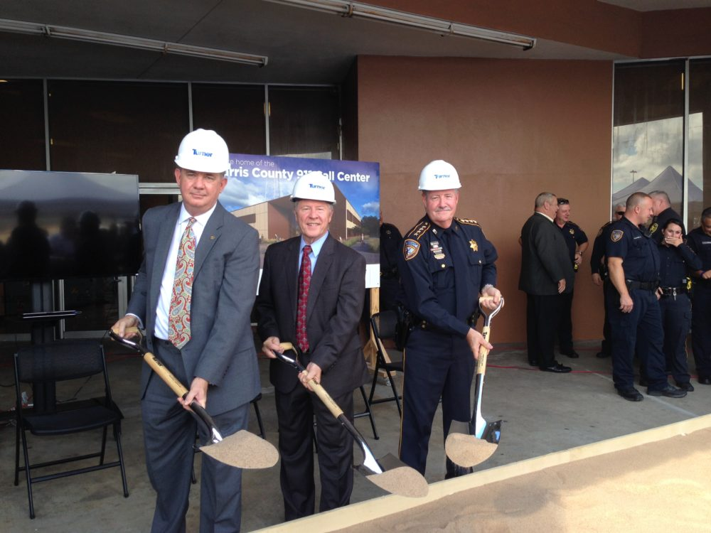 Russell Rau, Chairman of the Greater Harris County 9-1-1 Emergency Network; Ed Emmett, Harris County Judge; and Ron Hickman, Harris County Sheriff; attended a ground breaking ceremony for the new call center that was held in north Houston.