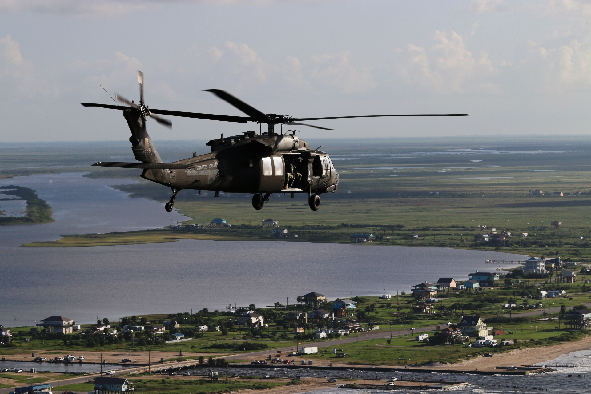 US Army helicopter over Bolivar Peninsula