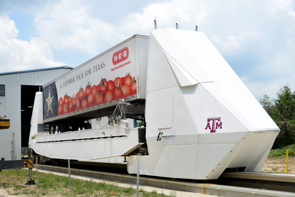 The Automated Freight Shuttle is designed to move trailers and cargo containers.