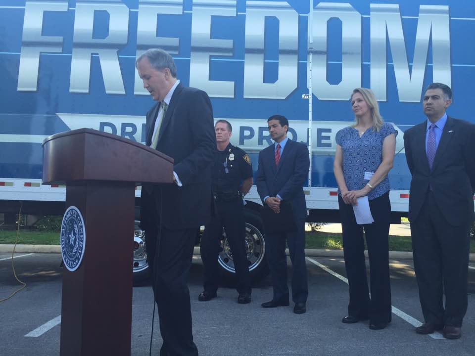 Texas AG Ken Paxton at a news conference with Truckers Against Trafficking at SAPD headquarters.