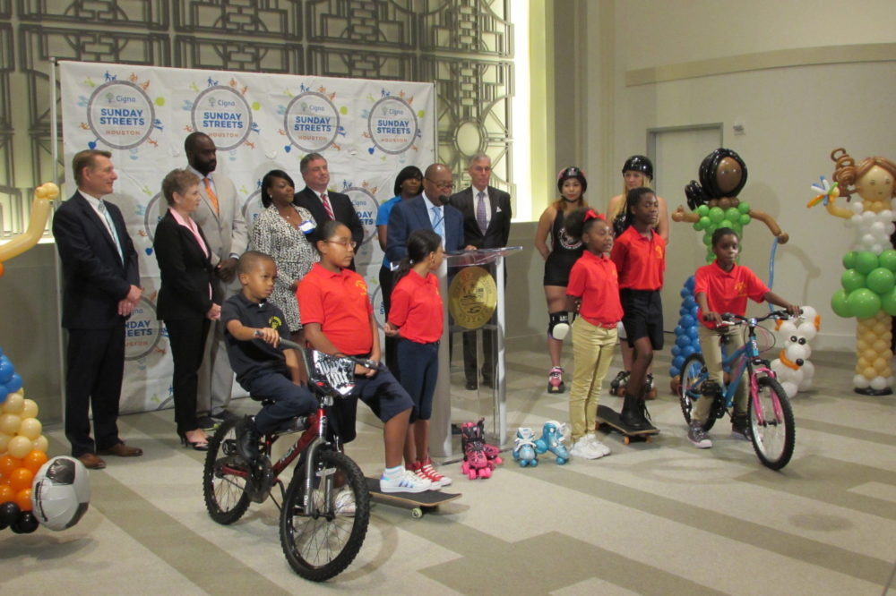 "Houston Mayor Sylvester Turner is joined by skaters, skateboarders, and cyclists to announce three new ""Sunday Streets."""