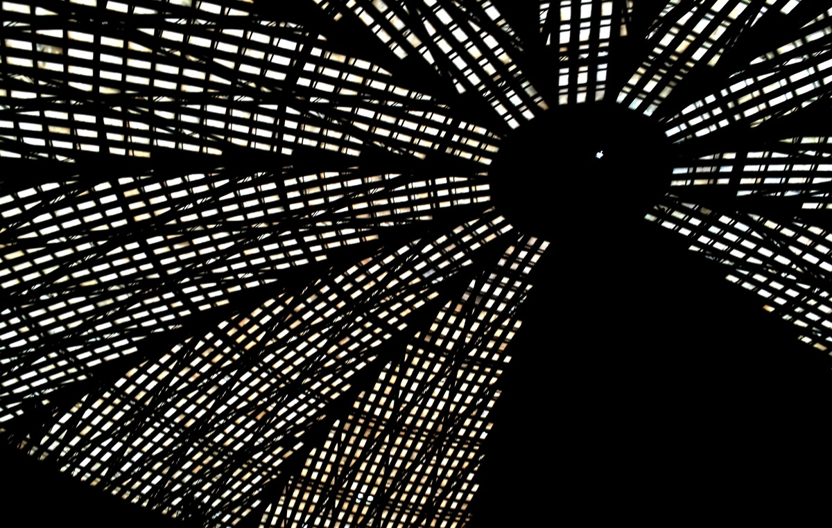 The ceiling of the Astrodome. (Photo: Michael Hagerty, Houston Public Media)