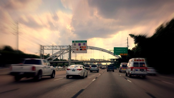 Traffic heading southbound on US 59/I 69 through Houston on Thursday, June 30, 2016. Photo: Michael Hagerty, Houston Public Media