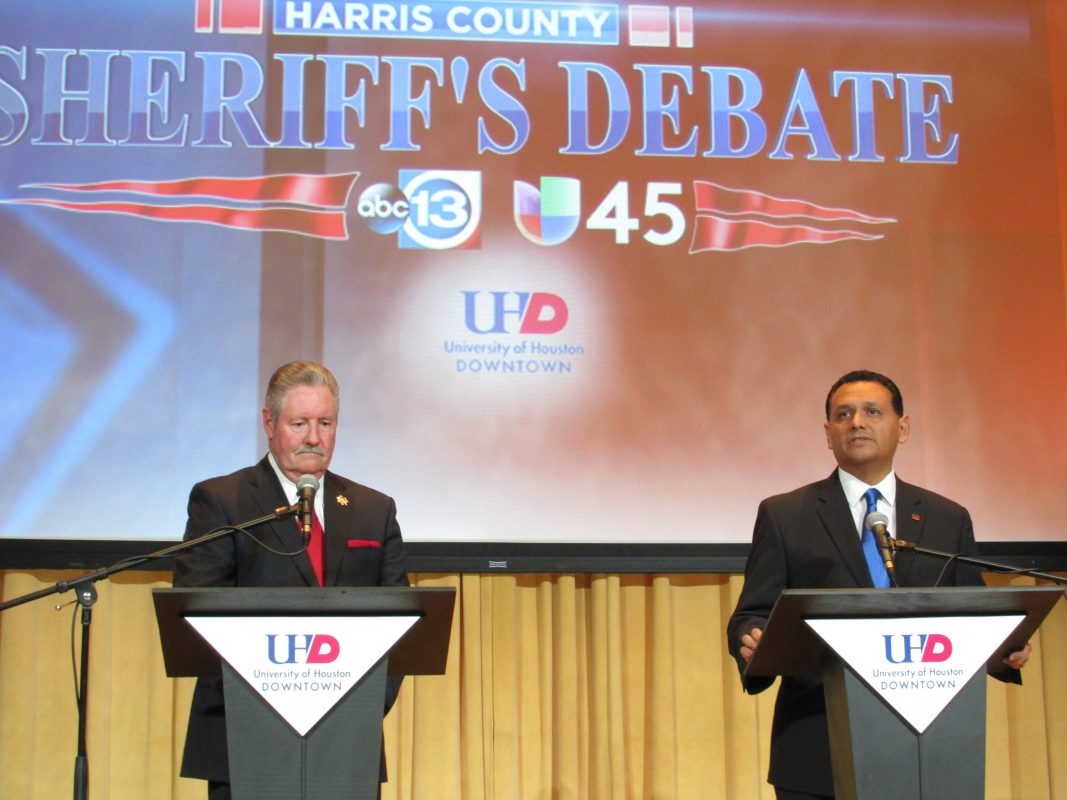 Sheriff Ron Hickman, left, and his challenger, Ed Gonzalez, face off in a debate at UH Downtown. (Photo: Florian Martin, Houston Public Media)