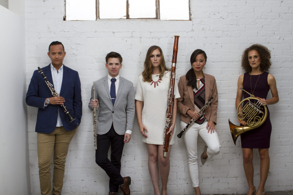 Publicity photo of wind quintet players