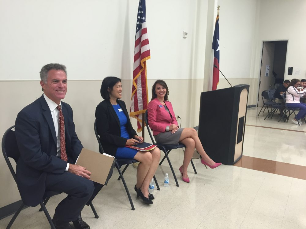 Three candidates debated in the race for HISD District 7: John Luman, Anne Sung and Victoria Bryant.