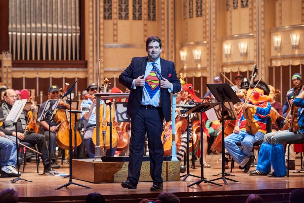 Conductor Brett Mitchell reveals his true identity at the Cleveland Orchestra Spooktacular Family Concert