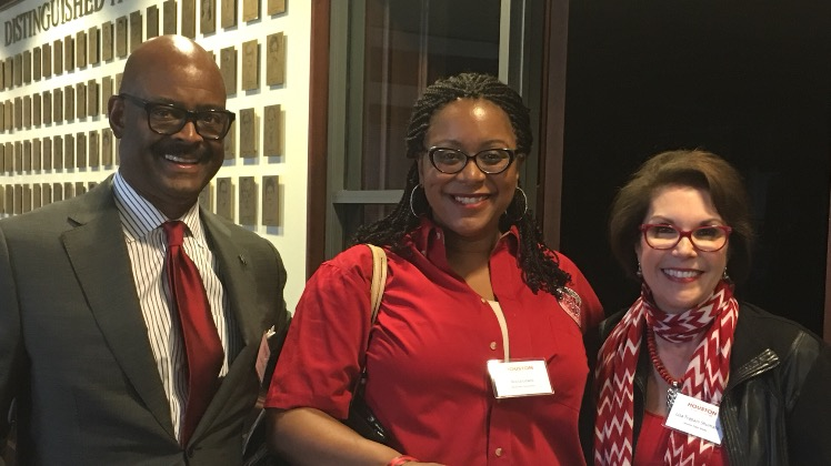 Wayne Luckett, UH Board of Visitors, Third Ward Initiative, Task Force Chair; Alicia G. Lewis, Principal, Blackshear Elementary; and Lisa Shumate, UH Board of Visitors, Third Ward Initiative, Task Force Member & General Manager, Houston Public Media.