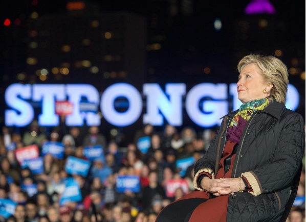Democratic presidential candidate Hillary Clinton at a rally, just days away from Nov. 8th, 2016, Election Day.
