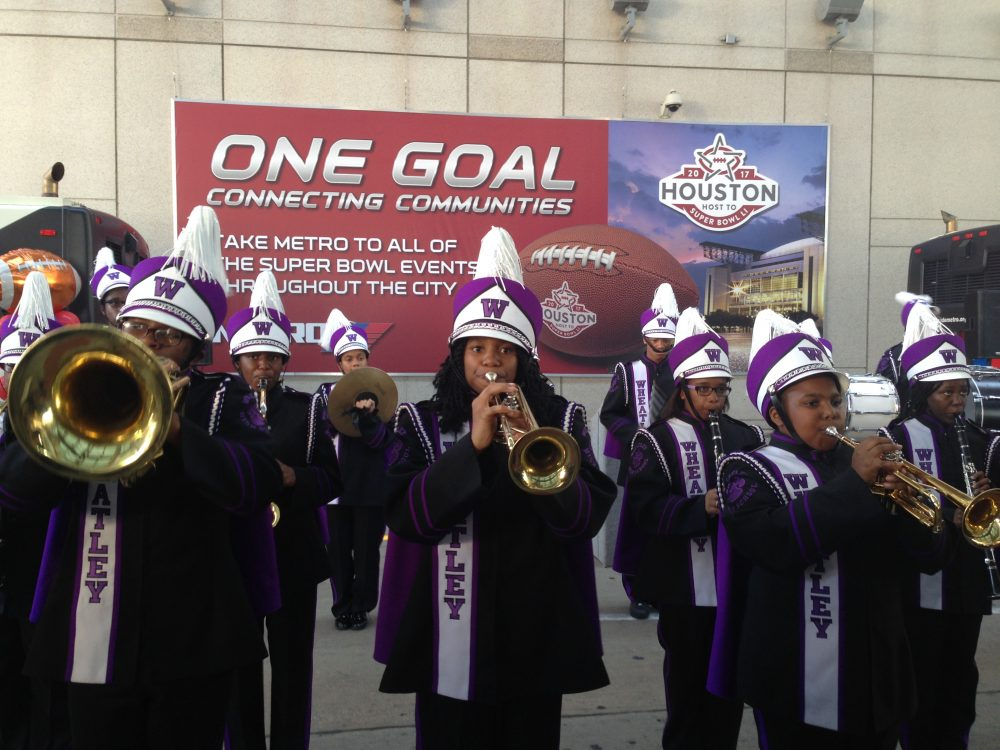 The Wheatley High School music band performed before METRO officials held a press conference to announce their plan for Super Bowl LI.