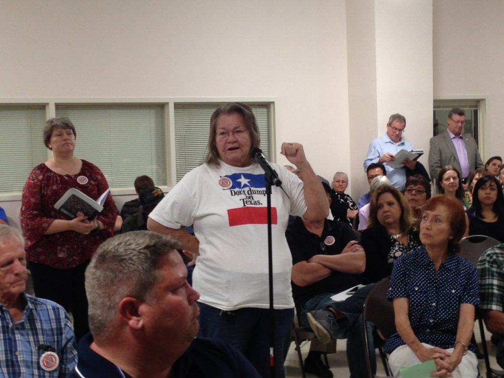 Blenda Barnes was one of the area residents who spoke at the meeting to express her concern about the waste pits in the San Jacinto River.