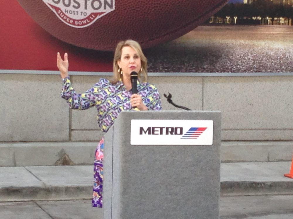 Carrin Patman, Chair of METRO's Board of Directors, underlined their goal is to ease transportation in the greater Houston area during the Super Bowl week.