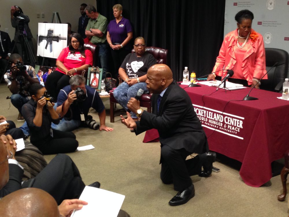 U.S. Congressman John Lewis participated in a forum about gun control held at Texas Southern University.