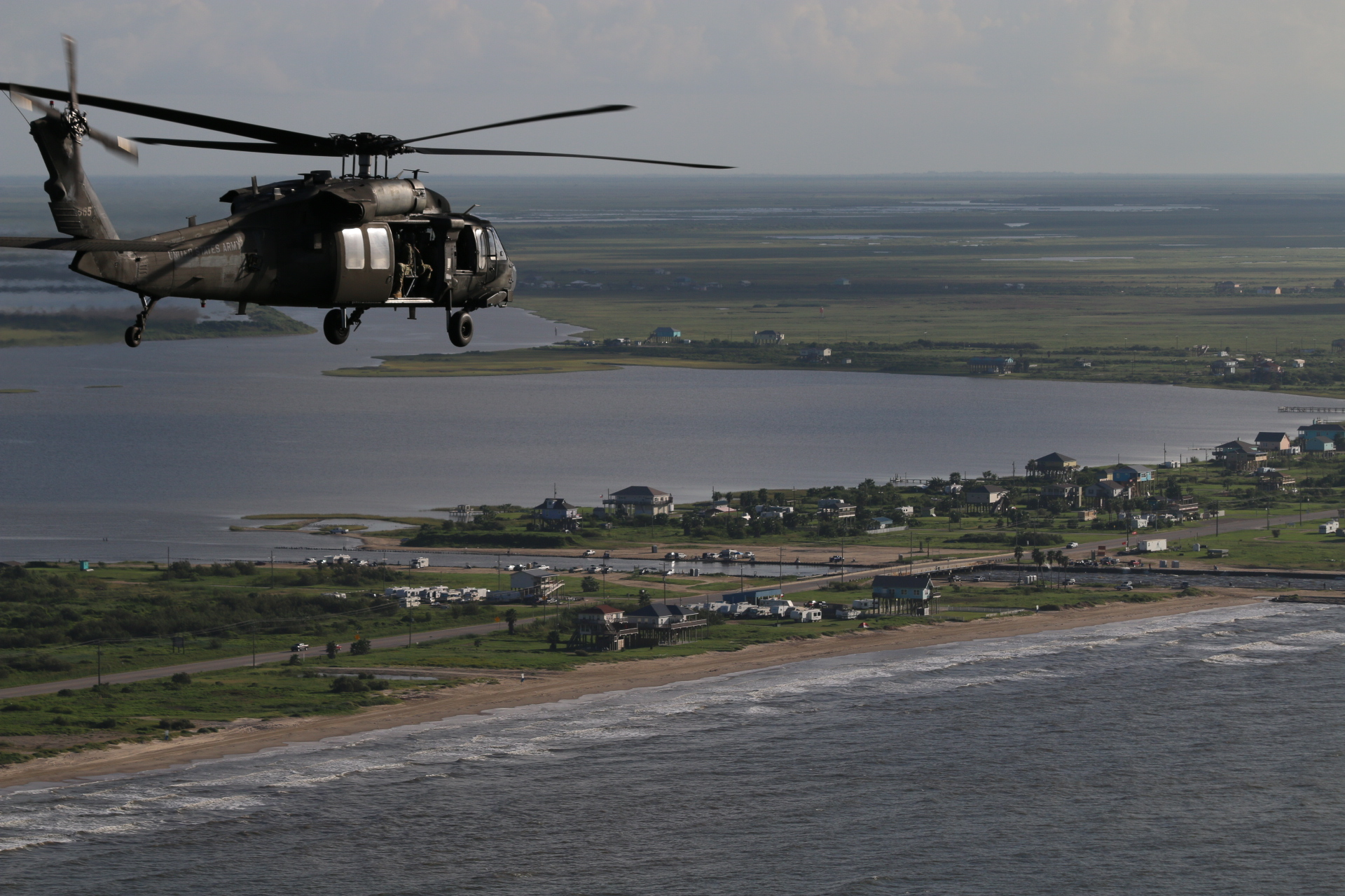 US Army helicopter over Bolivar Peninsula where Hurricane Ike damage or destroyed 85% of buildings